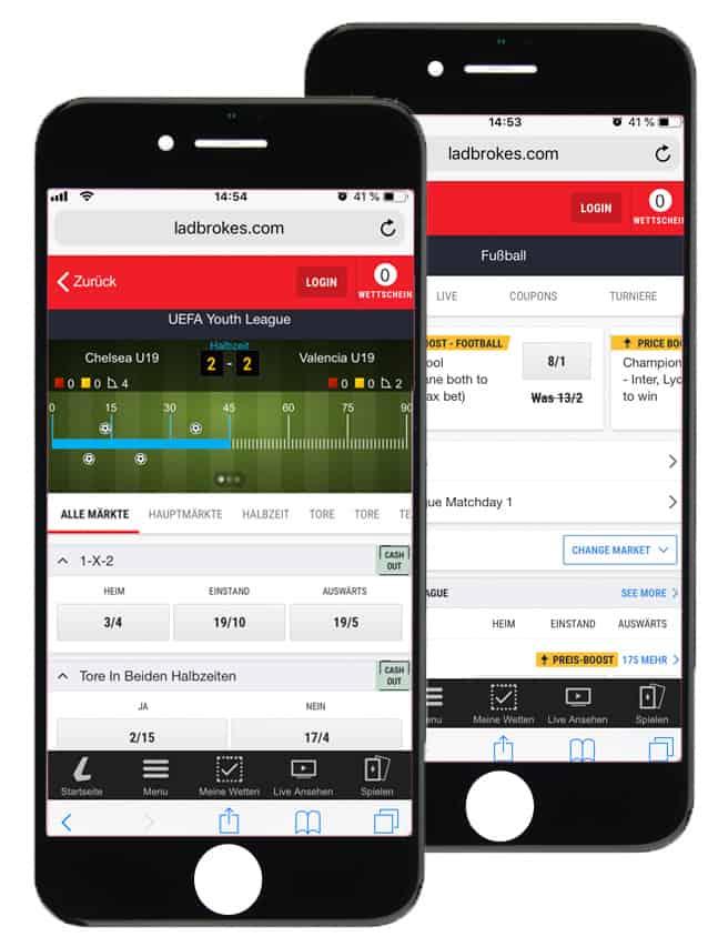 App von Ladbrokes auf dem Handy