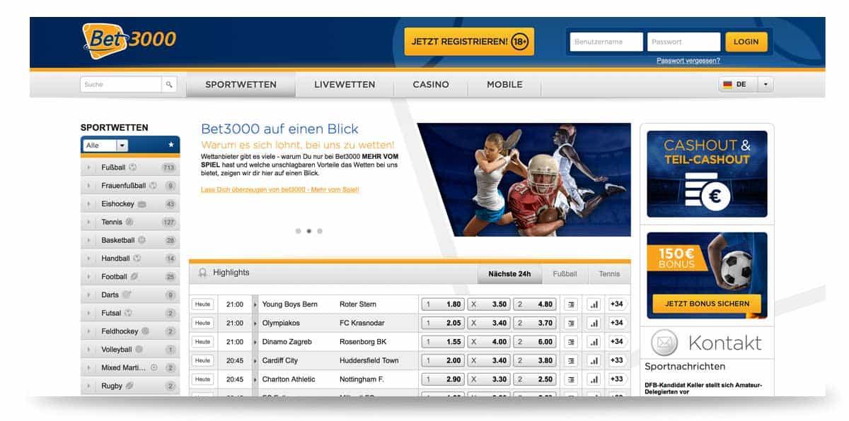 Startseite von bet3000 in Deutschland