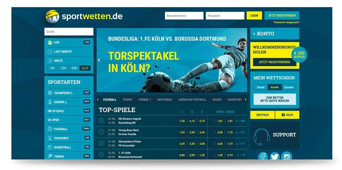 Startseite von sportwettende in Deutschland