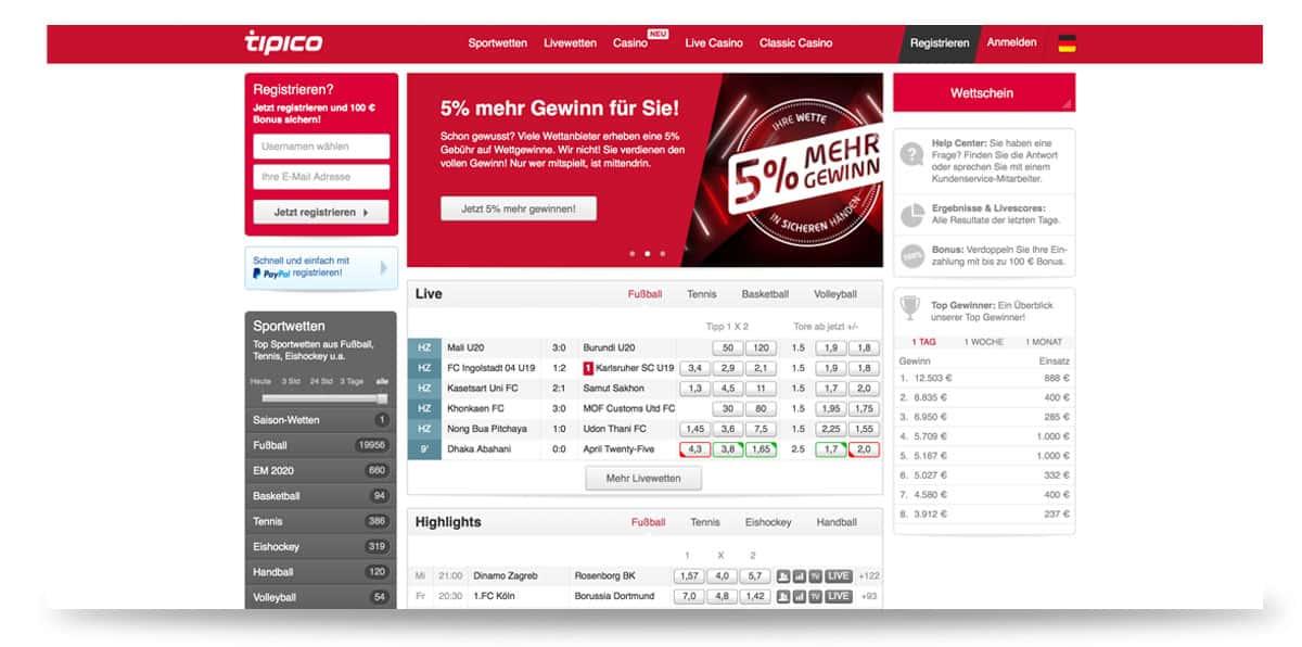 Startseite von Tipico in Deutschland