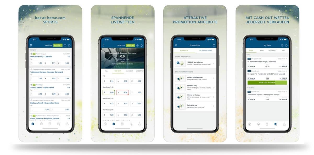 Vorschau der bet-at-home Sportwetten App