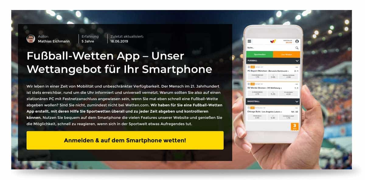 Vorschau der wettencom Sportwetten App