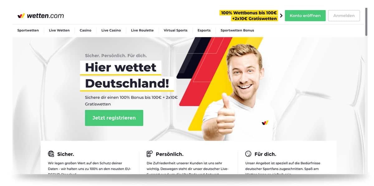 Startseite von wettencom in Deutschland