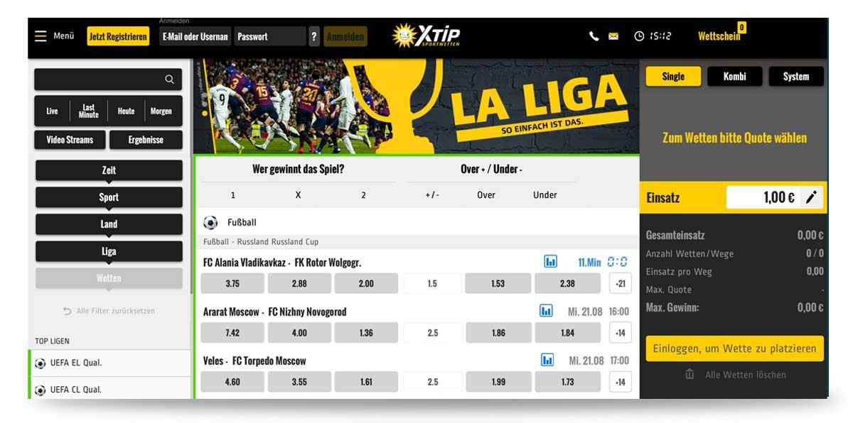 Startseite von XTip in Deutschland