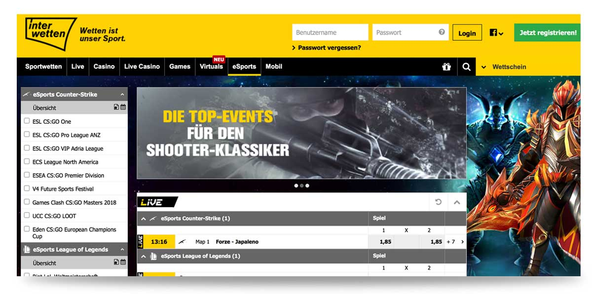 eSports bei Interwetten