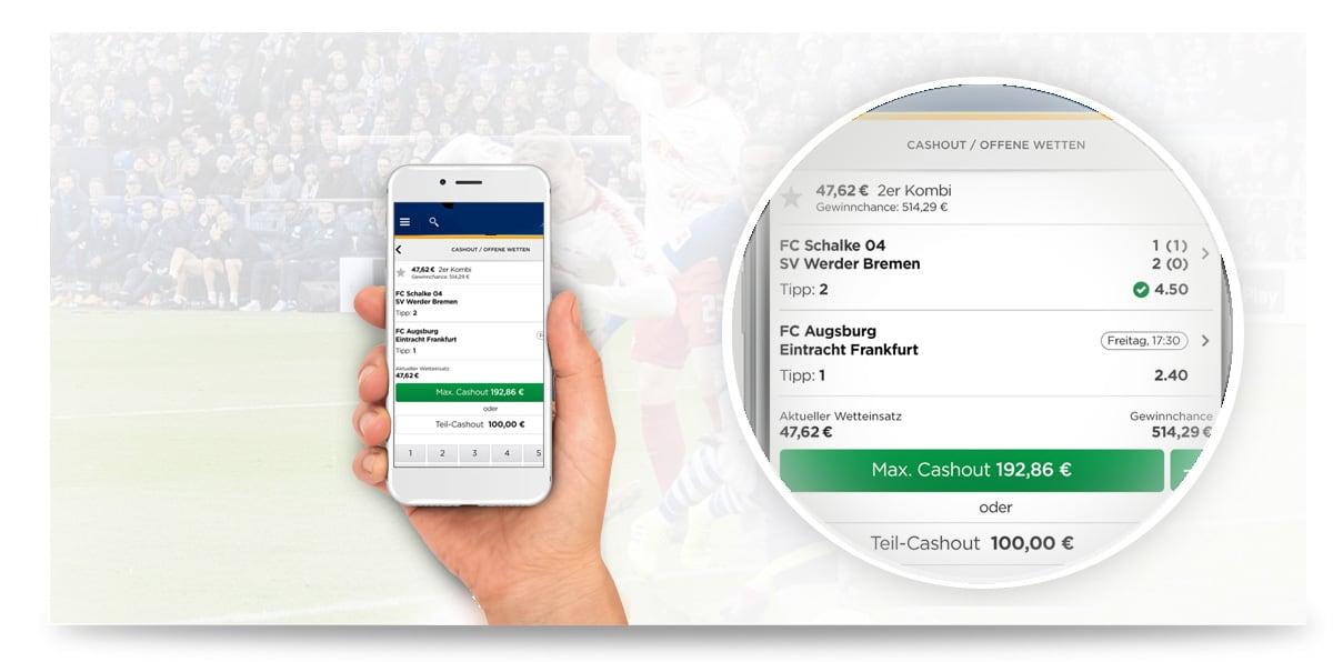 Cash Out Funktion auf dem Handy