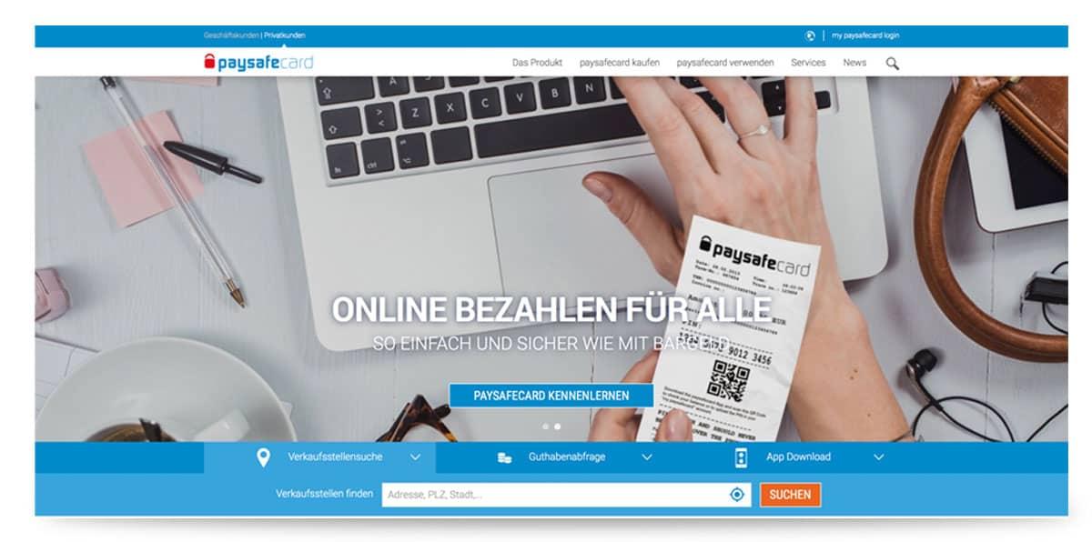 Startseite von Paysafecard