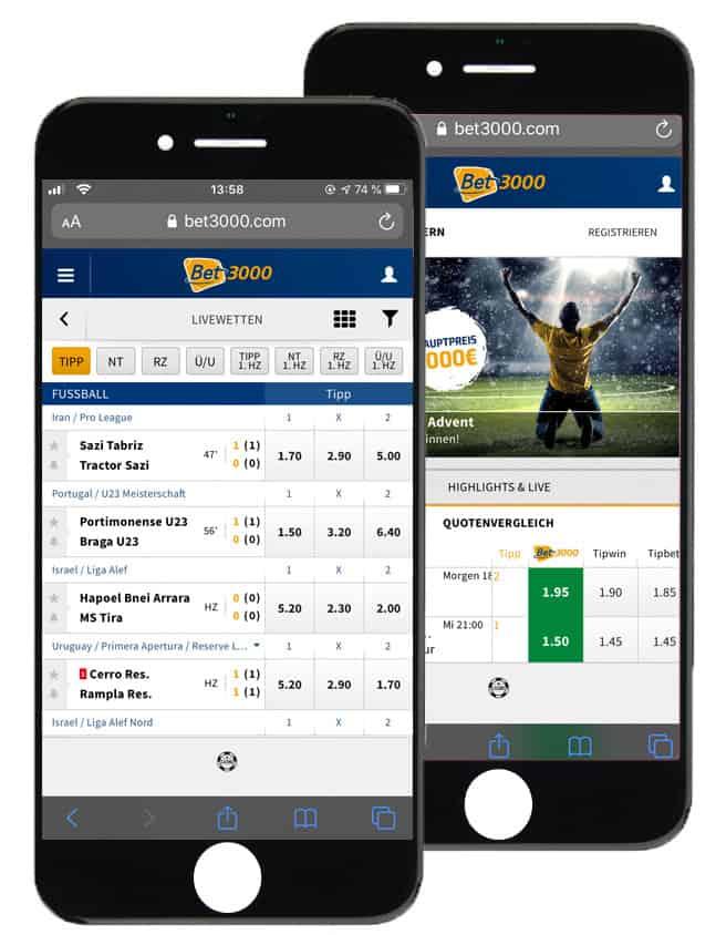 Sportwetten App von bet3000
