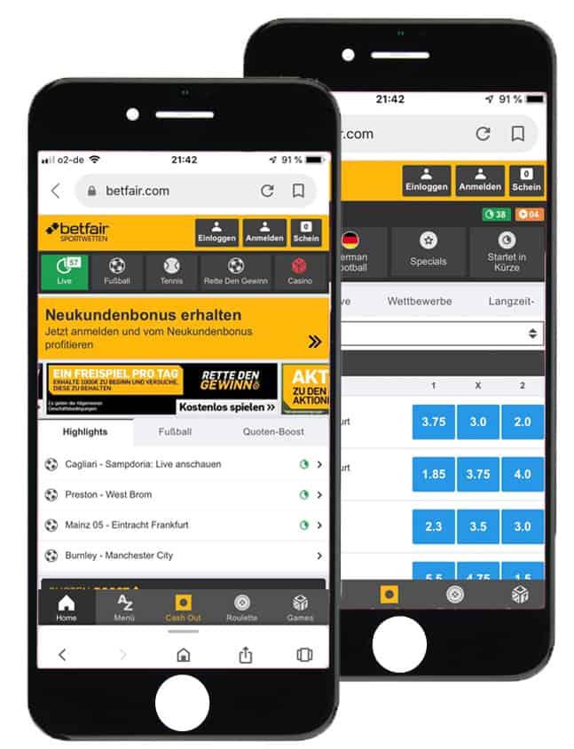 Sportwetten App von betfair